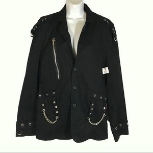 TRIPP Goth Punk Studded & Chain Coat Sz XS